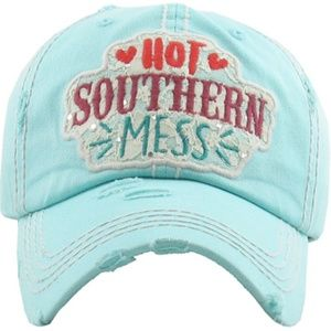 """460-""""Hot SOUTHERN MESS"""" Distressed Ball Cap"""